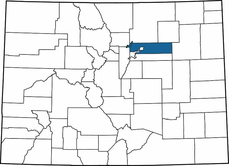 Adams County - Highlighted on a Map of Colorado